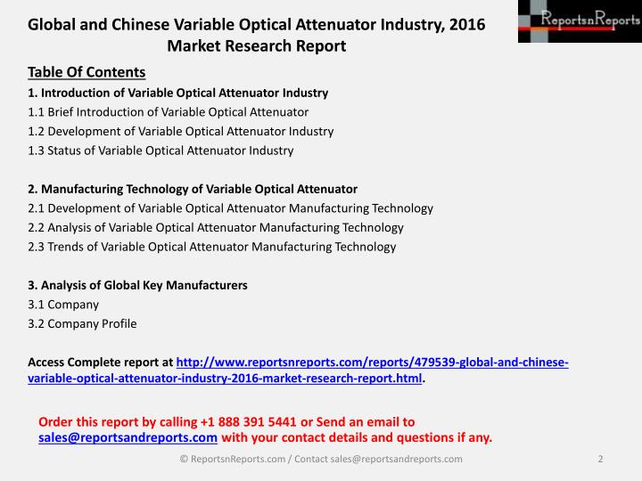 Global and chinese variable optical attenuator industry 2016 market research report1