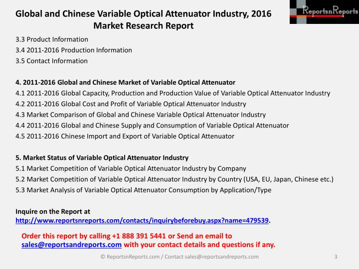 Global and chinese variable optical attenuator industry 2016 market research report2