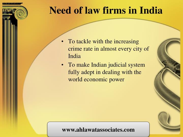 Need of law firms in india