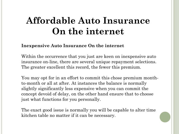 Affordable Auto Insurance On the internet