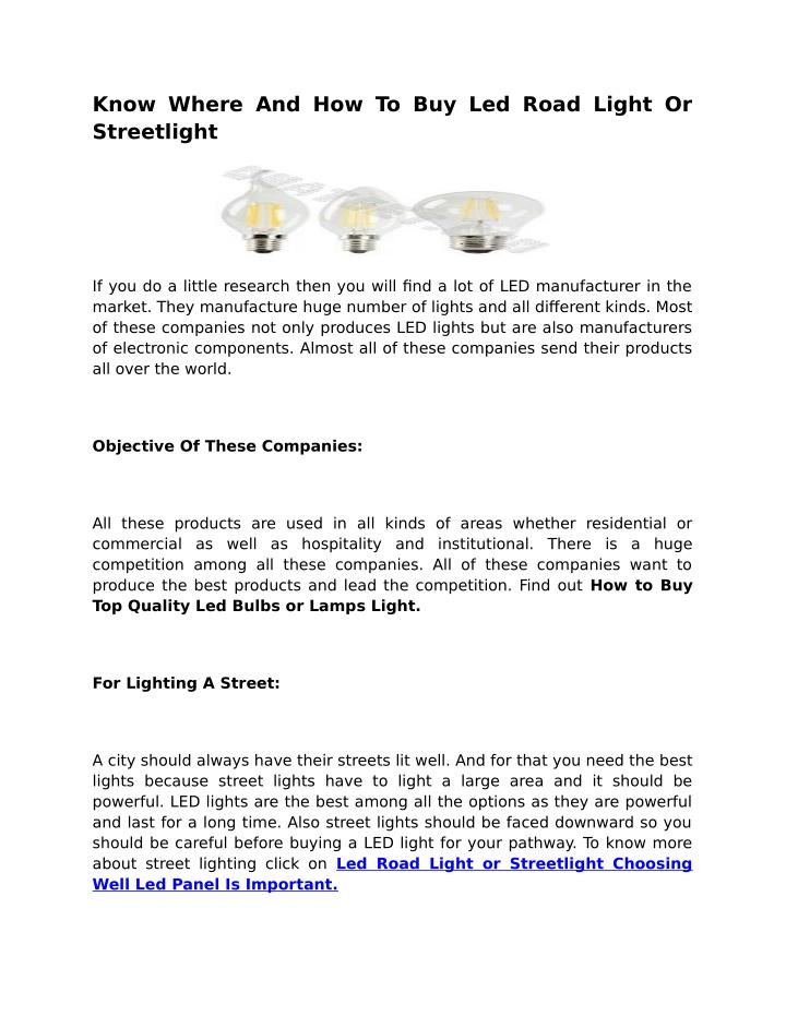 Know Where And How To Buy Led Road Light Or