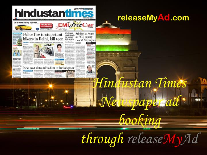 Hindustan times newspaper ad booking through release my ad
