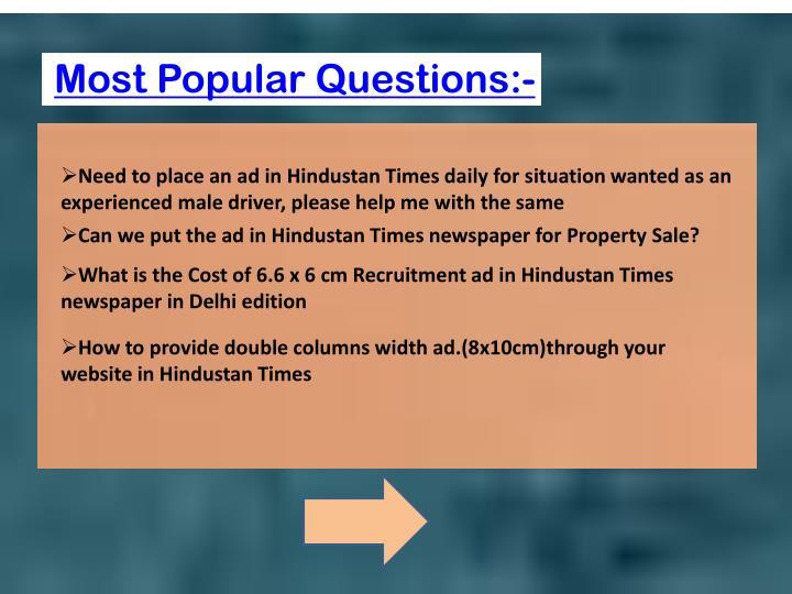 Most Popular Questions:-