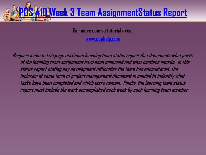 POS 410 Week 3 Team