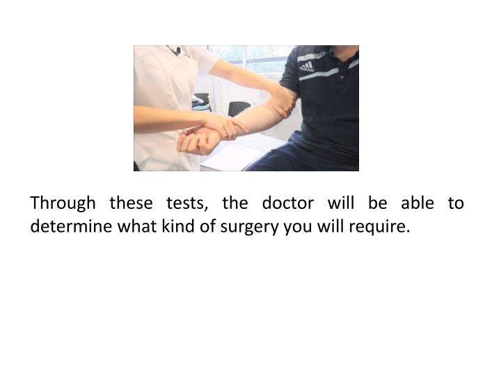 Through these tests, the doctor will be able to