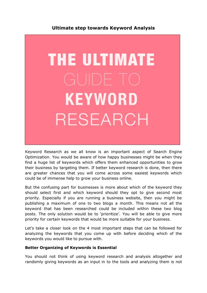 Ultimate step towards Keyword Analysis