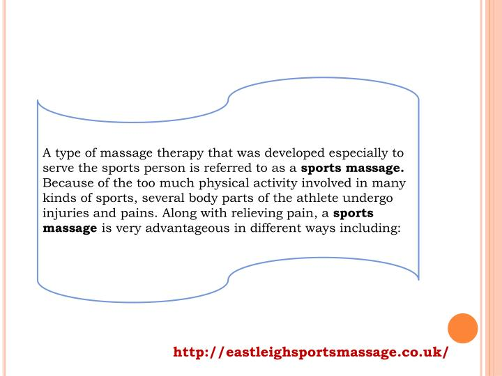 A type of massage therapy that was developed especially to serve the sports person is referred to as...