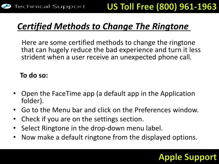 Certified methods to change the ringtone