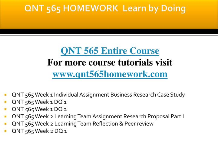 Qnt 565 homework learn by doing
