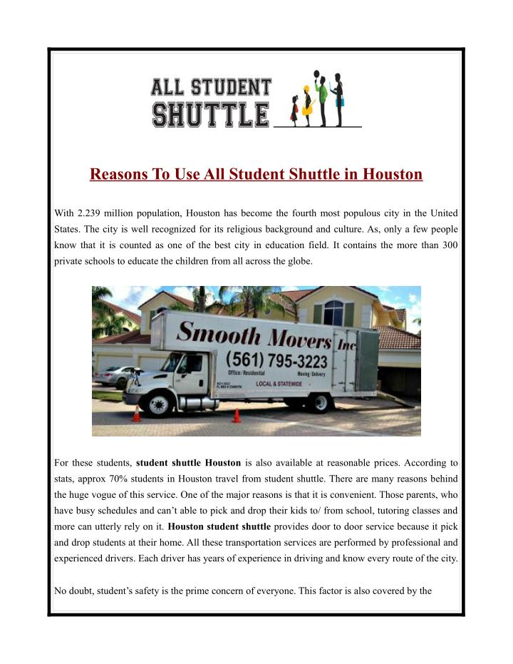 Reasons To Use All Student Shuttle in Houston
