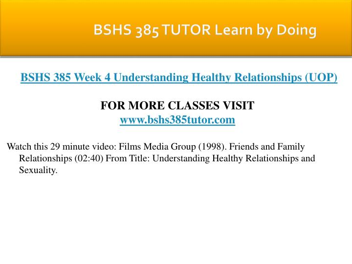 BSHS 385 TUTOR Learn by Doing