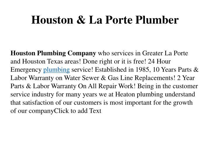 Houston & La Porte Plumber