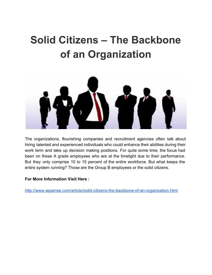 Solid Citizens – The Backbone