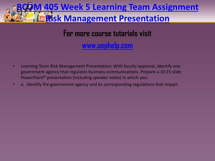 BCOM 405 Week 5 Learning Team Assignment Risk Management