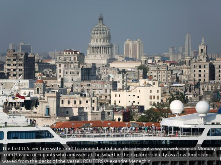 The first U.S. cruise ship to arrive in Cuba in decades received a warm welcome on Monday from Havan...
