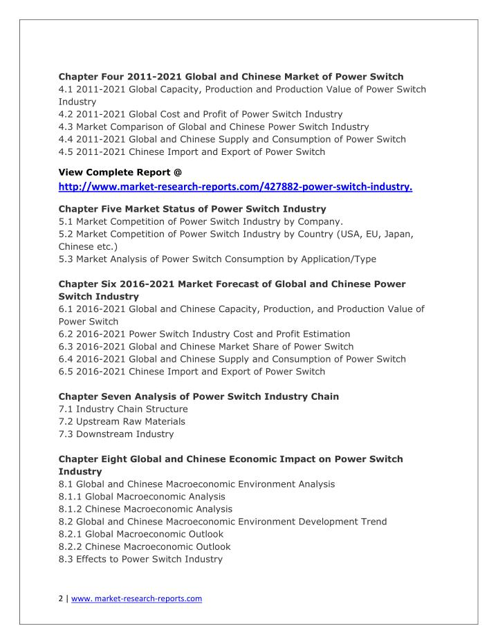 Chapter Four 2011-2021 Global and Chinese Market of Power Switch