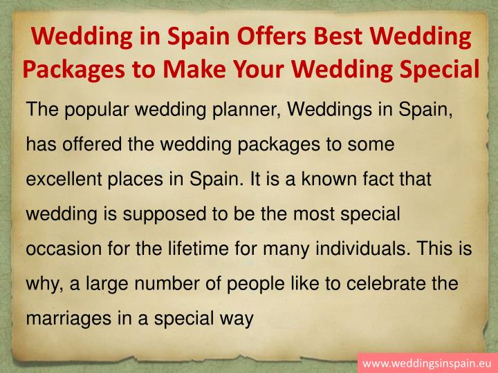 Wedding in Spain Offers Best Wedding Packages to Make Your Wedding Special