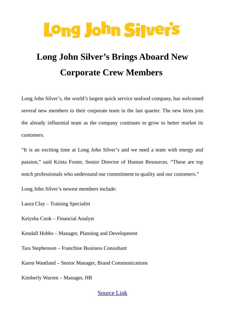 Long John Silver's Brings Aboard New