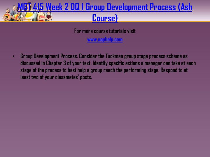MGT 415 Week 2 DQ 1 Group Development Process (Ash Course)