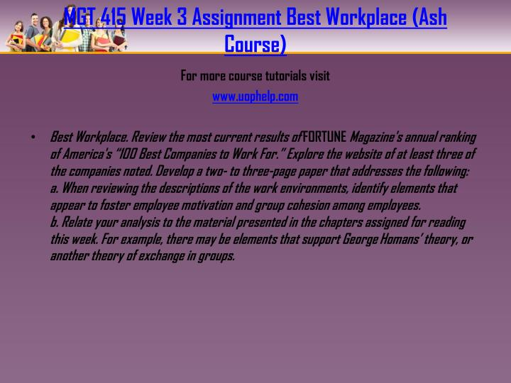 MGT 415 Week 3 Assignment Best Workplace (Ash Course)