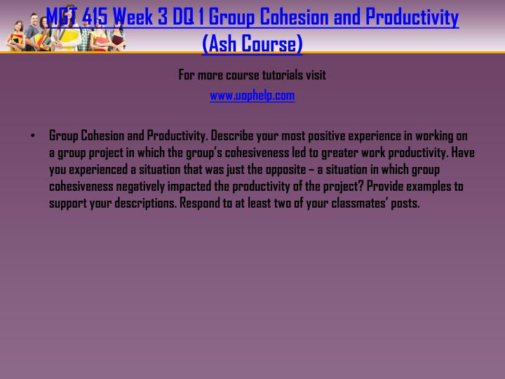 MGT 415 Week 3 DQ 1 Group Cohesion and Productivity (Ash Course)