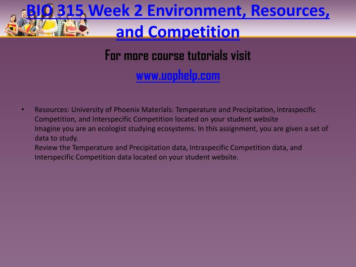 BIO 315 Week 2 Environment, Resources, and