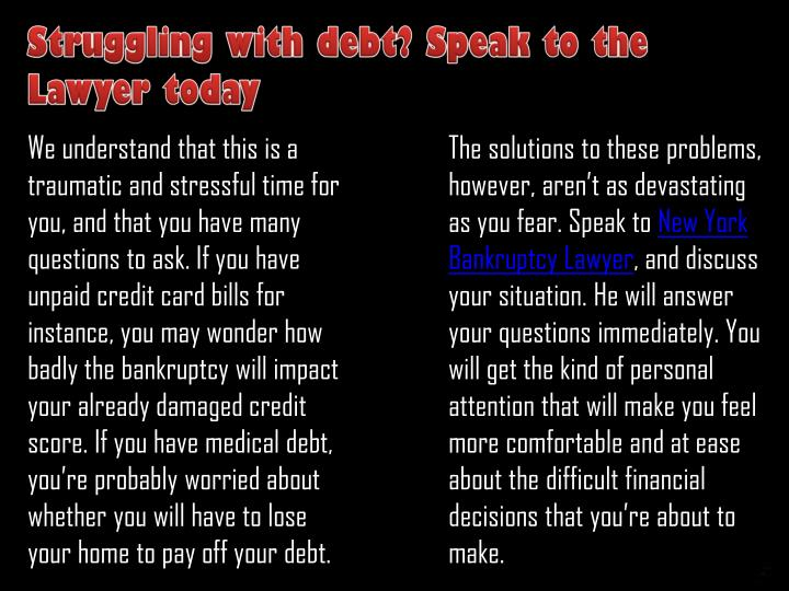 Struggling with debt? Speak to the Lawyer today