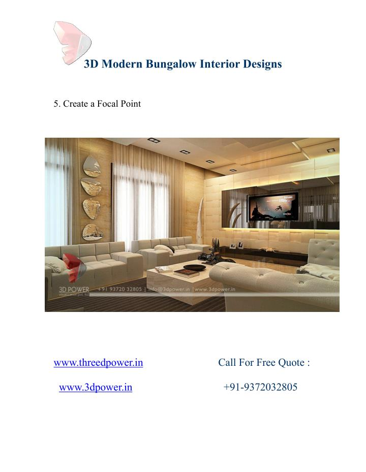 3D Modern Bungalow Interior Designs