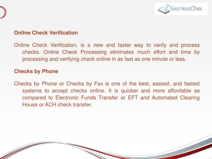 Online Check Verification