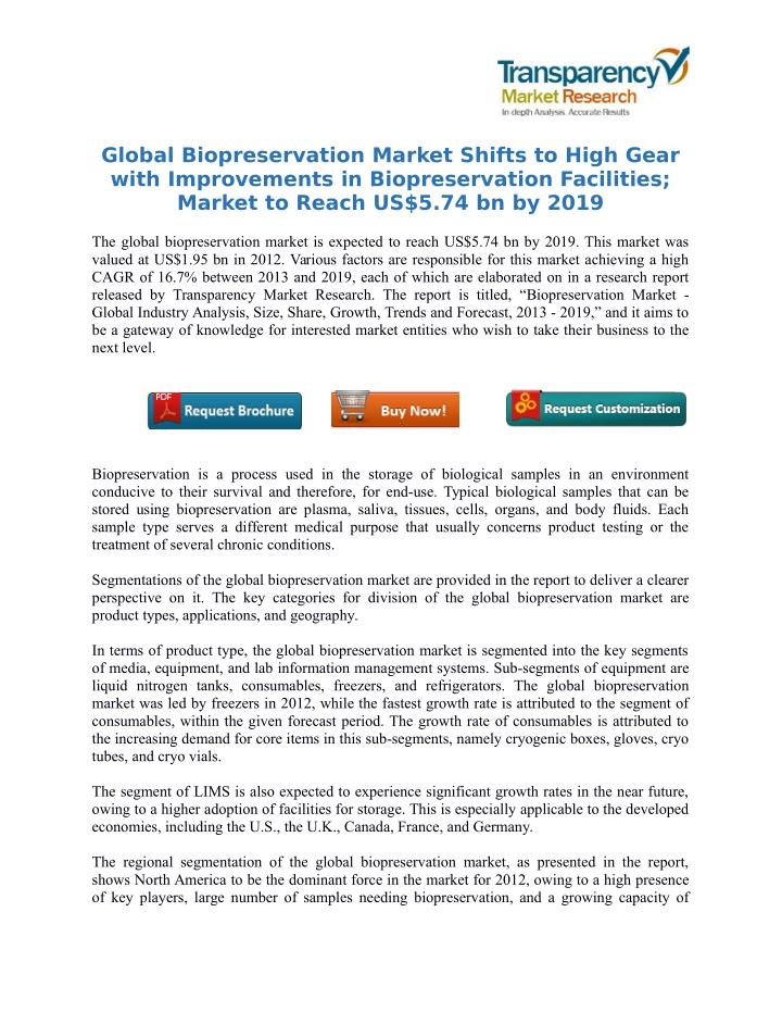 Global Biopreservation Market Shifts to High Gear
