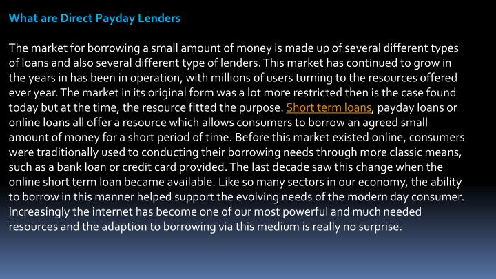 What are Direct Payday Lenders