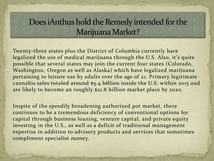 Does ianthus hold the remedy intended for the marijuana market