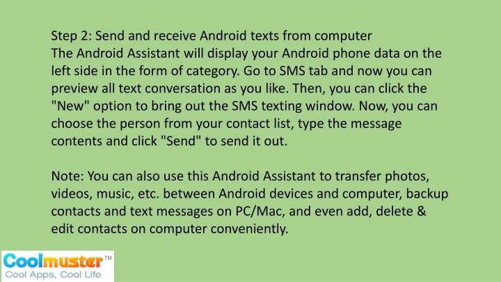 Step 2: Send and receive Android texts from computer