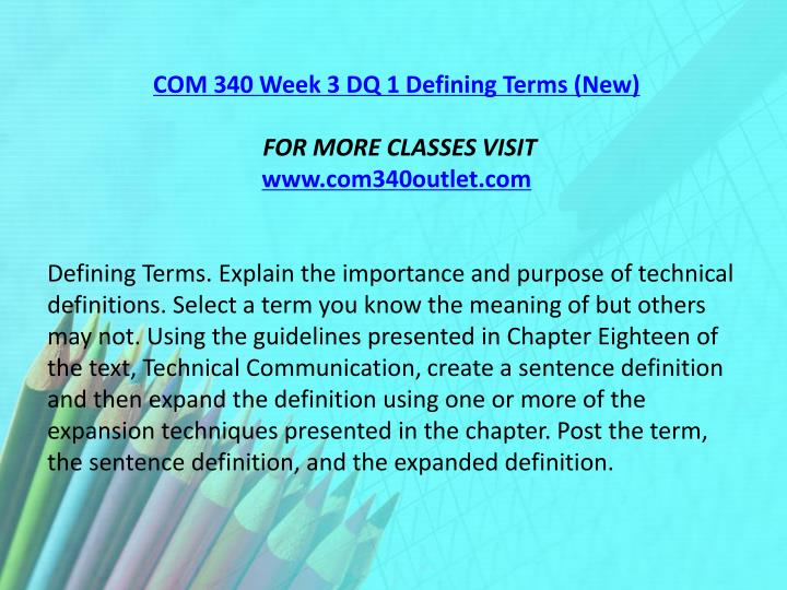 COM 340 Week 3 DQ 1 Defining Terms (New)