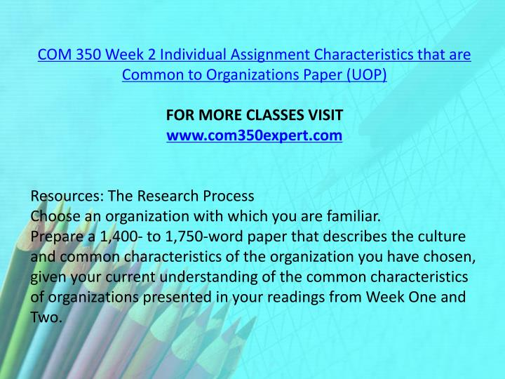 COM 350 Week 2 Individual Assignment Characteristics that are Common to Organizations Paper (UOP)