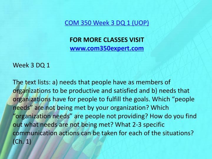COM 350 Week 3 DQ 1 (UOP)