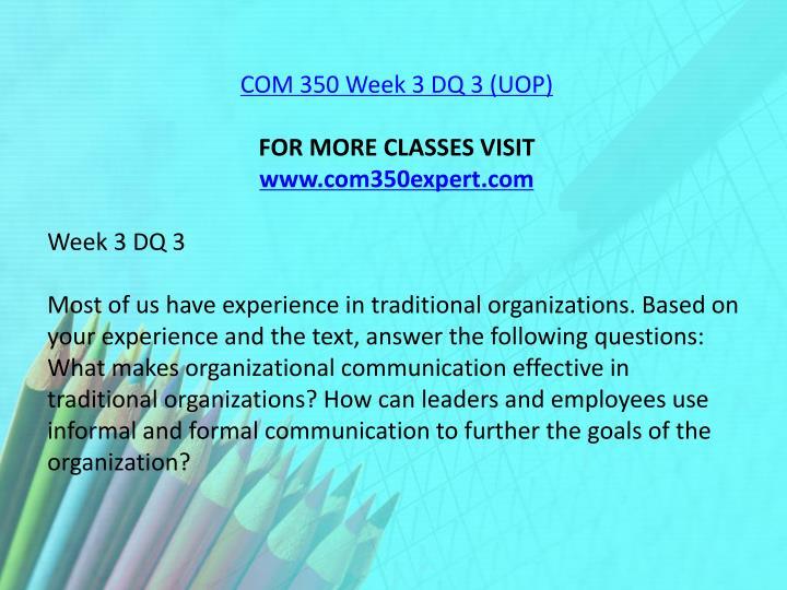 COM 350 Week 3 DQ 3 (UOP)
