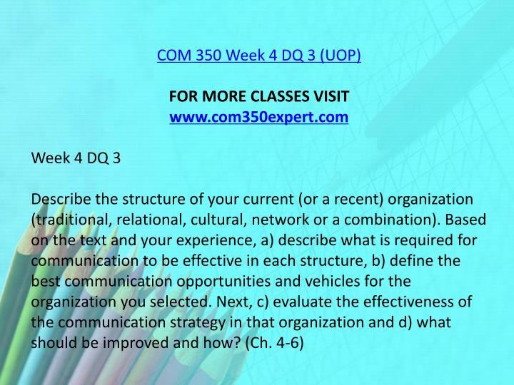 COM 350 Week 4 DQ 3 (UOP)