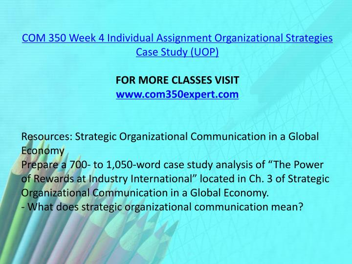 COM 350 Week 4 Individual Assignment Organizational Strategies Case Study (UOP)