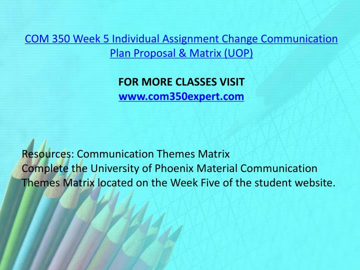 COM 350 Week 5 Individual Assignment Change Communication Plan Proposal & Matrix (UOP)