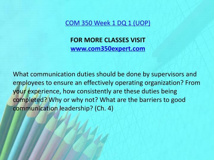 COM 350 Week 1 DQ 1 (UOP)