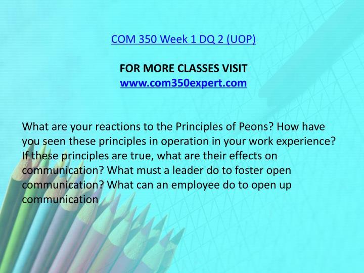 COM 350 Week 1 DQ 2 (UOP)