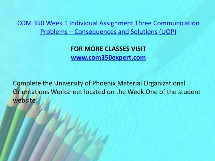 COM 350 Week 1 Individual Assignment Three Communication Problems – Consequences and Solutions (UOP)