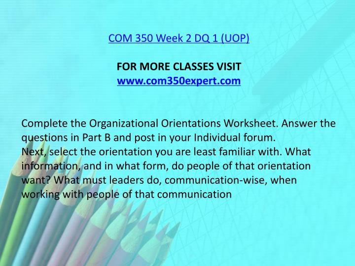 COM 350 Week 2 DQ 1 (UOP)