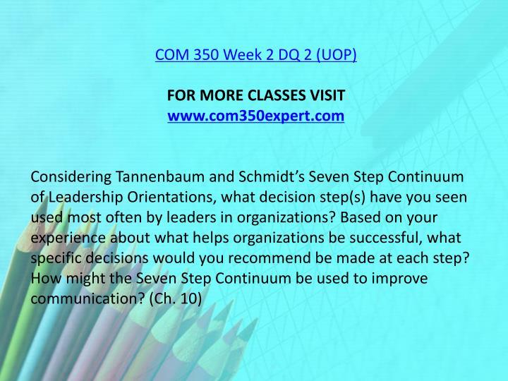 COM 350 Week 2 DQ 2 (UOP)
