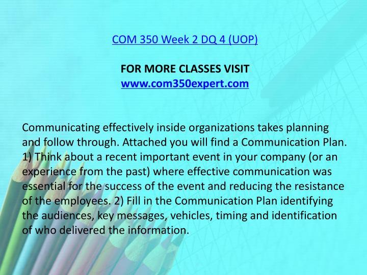 COM 350 Week 2 DQ 4 (UOP)