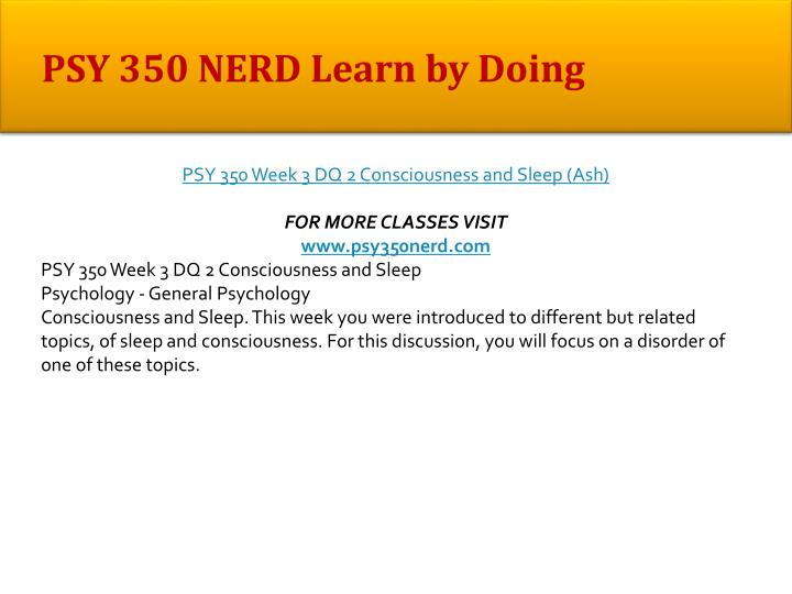 PSY 350 NERD Learn by Doing
