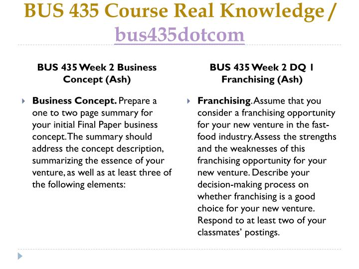 BUS 435 Course Real Knowledge /