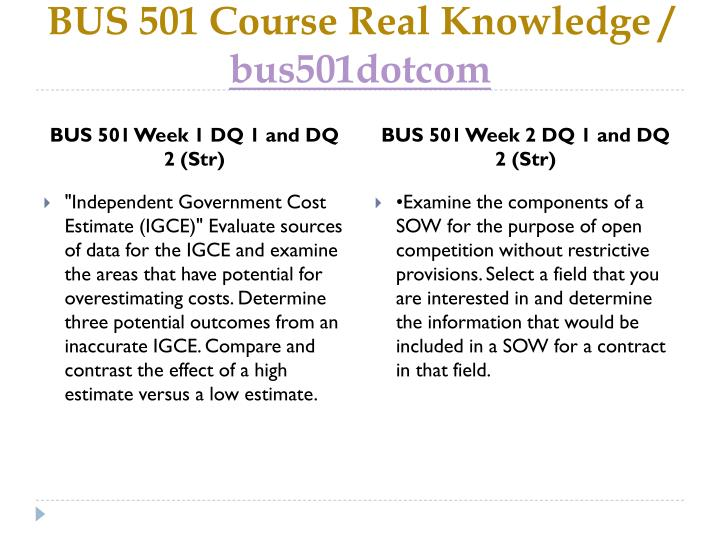 Bus 501 course real knowledge bus501dotcom2