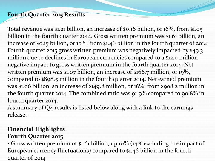 Fourth Quarter 2015 Results